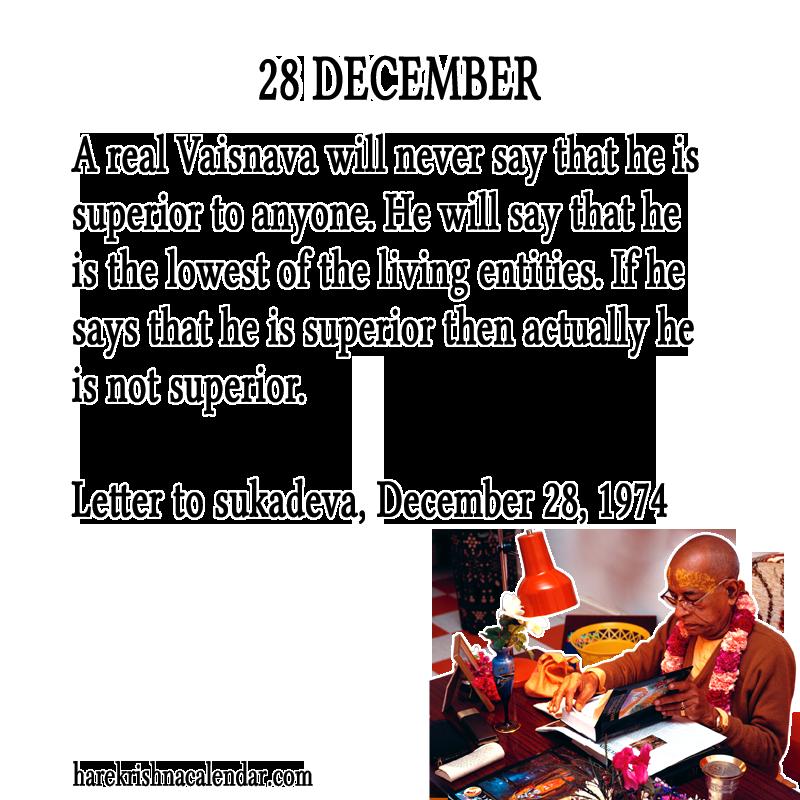 Srila Prabhupada's Quotes for 28 December | Hare Krishna Calendar