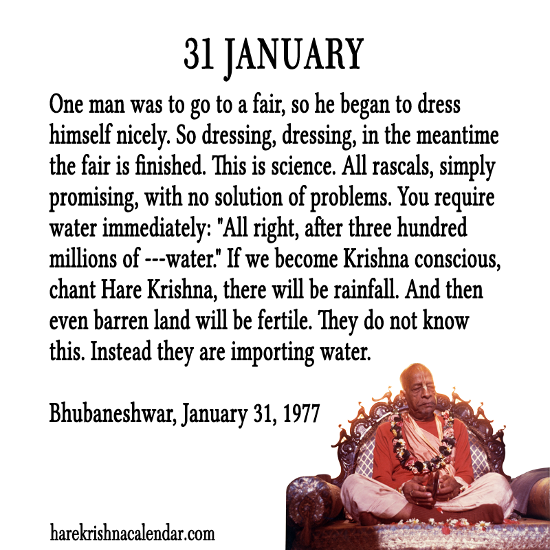 Quotes January Prepossessing Srila Prabhupada's Quotes In January  Hare Krishna Calendar