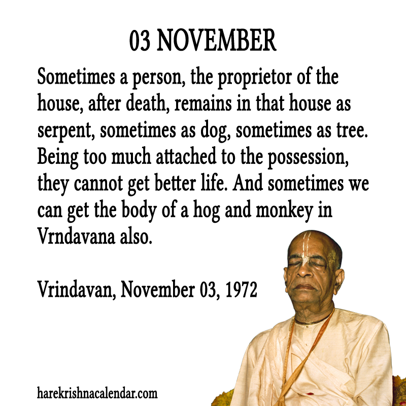 Srila Prabhupada's Quotes for 03 November | Hare Krishna Calendar