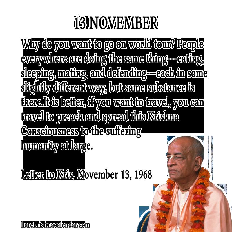 Srila Prabhupada's Quotes for 13 November | Hare Krishna Calendar
