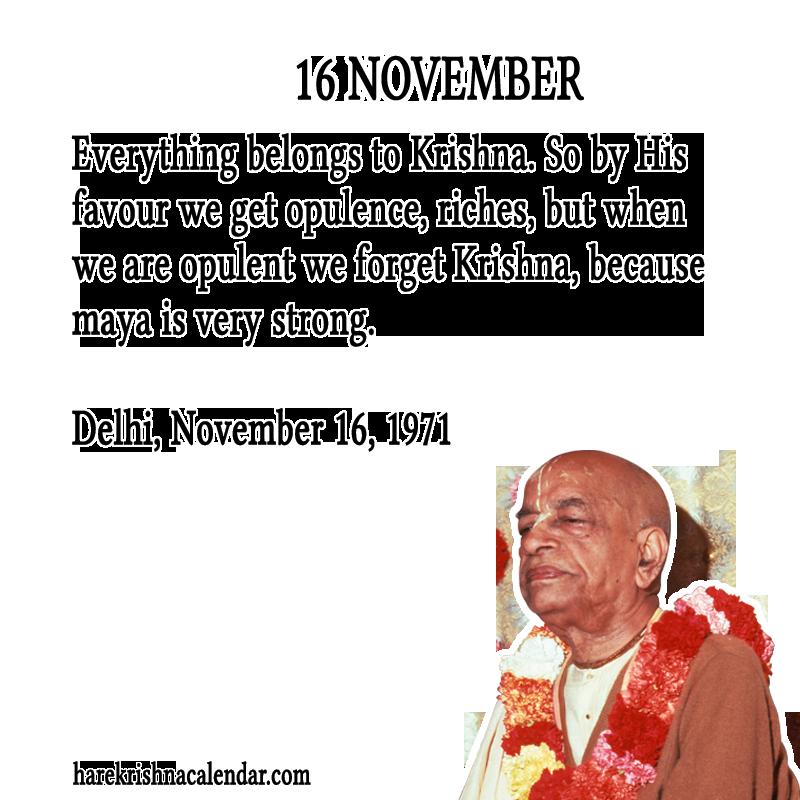 Srila Prabhupada's Quotes for 16 November | Hare Krishna Calendar