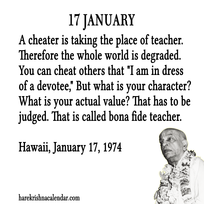 Srila Prabhupada's Quotes For 60 January Hare Krishna Calendar Unique Quotes January
